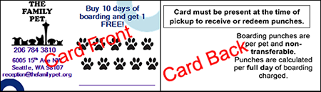 The Family Pet Boarding Rewards Punch Card
